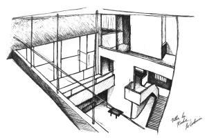 Interior sketch of Villa la Roche