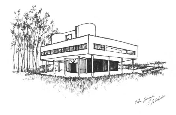 Drawing of Villa Savoye