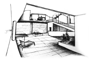 Sketch of Villa Savoye terrace