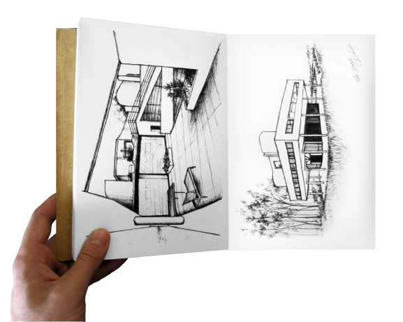 Sketchbook drawings of Villa Savoye