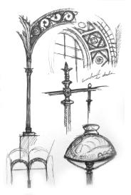 Interior details of Bibliotheque St-Genvieve